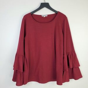 Pleione Wine Red Ruffle Bell Sleeve Blouse